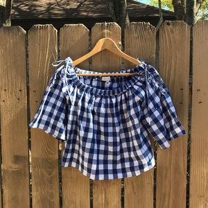 Tops - Gingham Off the Shoulder blouse